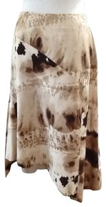 Lafayette 148 New York Silk Chic Spring Summer Brown Skirt Brown Beige