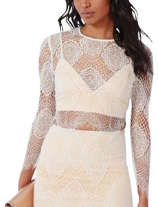 Missguided Top White and nude