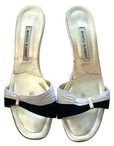 Manolo Blahnik White/black Sandals