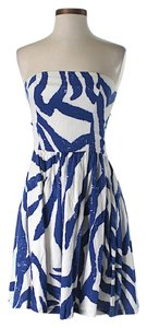 Aqua short dress Blue & White Strapless Fit Flare on Tradesy