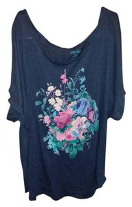 Mudd Top Grey-Blue Floral