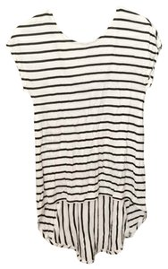Dynamite T-shirt Open Soft Striped Cotton T Shirt Black white