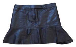 Chloé Leather Ruffle Sexy Mini Skirt Black