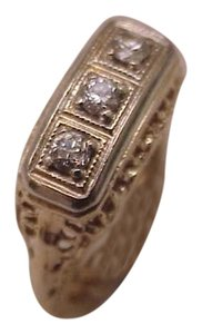 Art Deco 14K 2-Tone 3-Stone Old European Cut Diamonds Filigree Ring , 1920s