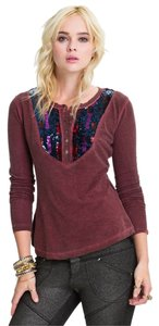 Free People Sequin Pretty T Shirt Burgundy