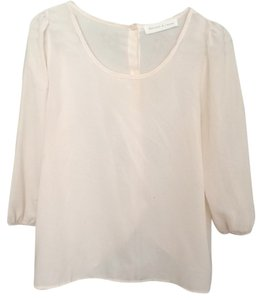 Francesca's Sheer Button Scoop Back Top Pink