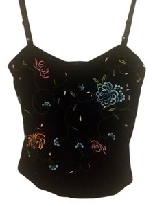 BCBGMAXAZRIA Embroidered Beading Maxazaria Vintage Top Black