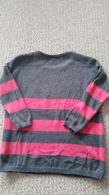 Gap Boxy Three Quarter Sleeves 3/4 Sleeves Pink Striped Cropped Sweater