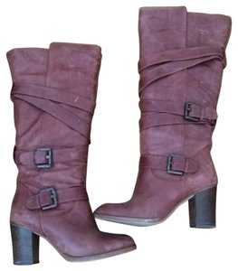Massimo Baldi Leather Buckles Stacked Heel Knee High Brown Boots