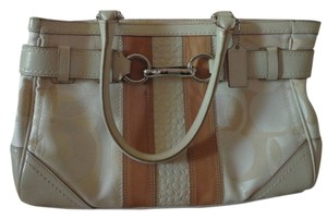Coach Satchel in Ivory/Browb