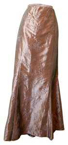 J.R. Nites Long Floral Embroidered Maxi Skirt Bronze