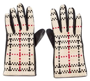Burberry Creme woven plaid black leather Burberry gloves