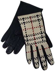 Burberry Creme woven plaid black leather Burberry gloves 7.5 sz