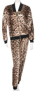 Brown, Black Maxi Dress by Roberto Cavalli Leopard Animal Print Gold Hardware Trackisuit Longsleeve