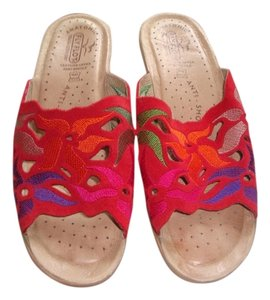 Fly Flot Italy Leather Red multi Sandals