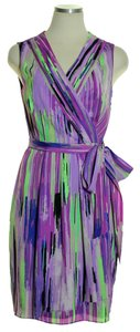 Catherine Malandrino short dress Purple/Green Faux Wrap Sleeveless on Tradesy