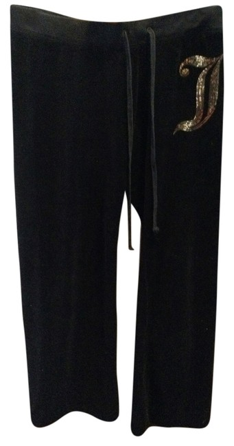 Item - Black Velour Gold Glitter Lounge Activewear Bottoms Size Petite 2 (XS)