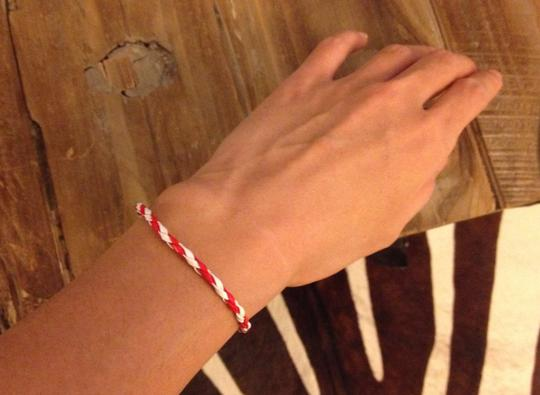 Anthropologie New Handmade Friendship Skinny Thin Faux Leather Cord Bracelet red white gift