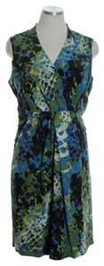 Kenneth Cole short dress Green Multi 100% Silk Crossover on Tradesy