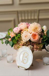 Vintage Plate Table Number With Gold Calligraphy (includes Plate Stands)