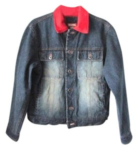 Michael Kors Cashmere Jean Distressed Vintage Style Blue Denim Red Womens Jean Jacket
