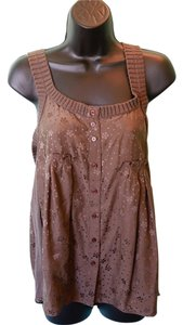 Marc by Marc Jacobs Floral/polka Dots Knitted Trim Top Brown
