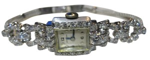 Hamilton HAMILTON ANTIQUE PLATINUM DIAMOND WATCH ON A SATIN BAND