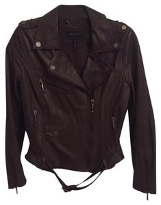BCBGMAXAZRIA Leather Dark Grey Leather Jacket