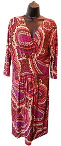 Talbots short dress Fuchsia/orange/tan Paisley Floral V-neck on Tradesy