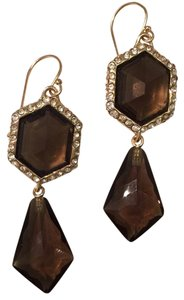 Alexis Bittar Miss Havisham Swarovski Crystal & Smoky Quartz Geo Drop Earrings