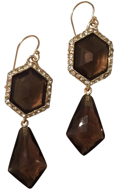 Item - Brown Miss Havisham Swarovski Crystal & Smoky Quartz Geo Drop Earrings