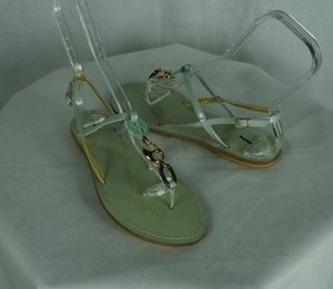 J.Crew Antibes Flats Pale With Chain Green Sandals