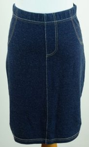 Max Studio Stretch Knit Denim Mini Skirt Blue