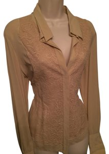 Herve Leger Silk Blouse Lace Button Down Shirt Beige