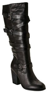 Steve Madden Leather Knee High Heels Black Boots