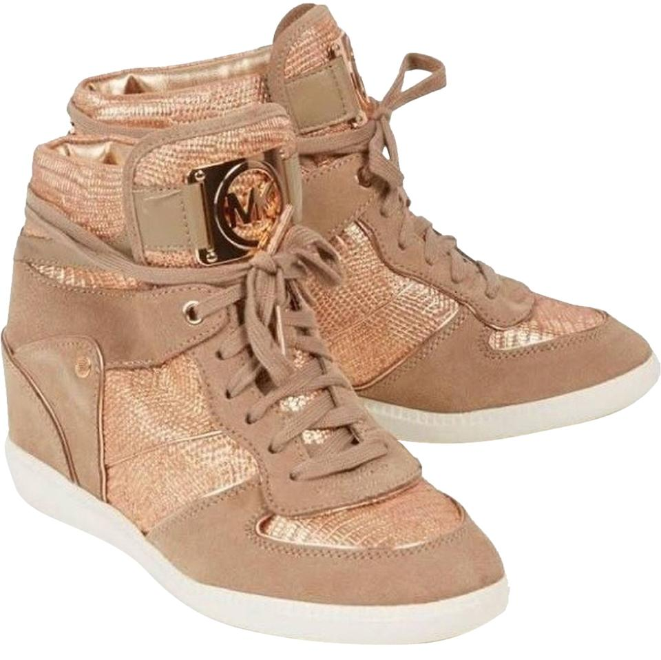 MICHAEL Michael Kors Rose Gold Nikko High Top Wedge Sneakers Size US 8.5 Regular (M, B) 52% off retail