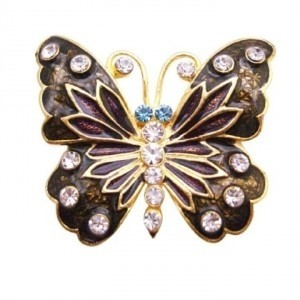 Golden Brown Decorative Stylish Pretty Enamel Butterfly Holiday Gift Brooch/Pin