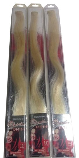 stardom 3 Piece Platinum Blonde Clip On Hair Extensions Highlight Streaks 16""