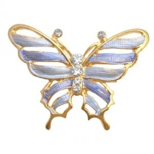 Blue Gold Sleek Dainty Enamel Butterfly Artistic Cubic Zircon Work Brooch/Pin