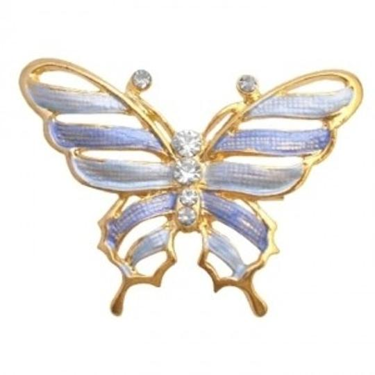 Preload https://img-static.tradesy.com/item/145877/blue-gold-sleek-dainty-enamel-butterfly-artistic-cubic-zircon-work-broochpin-0-0-540-540.jpg