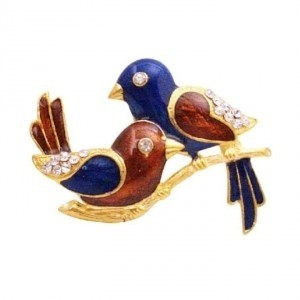 Blue Red Fashionable Hand Painted Twin Bird W/ Crystals Valentine Gift Brooch/Pin