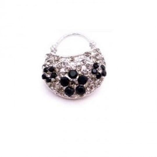 Silver Black Stunning Purse Diamond Jet Crystals Sparkling Gift Brooch/Pin