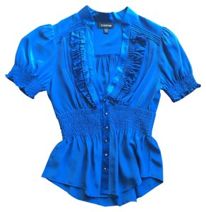 bebe Royal Button Up Top Blue