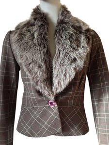 bebe Bebe Checkered One Button Removable Faux Mink Collar Suit Blazer/Coat