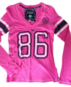 PINK Long Sleeve Football T Shirt Pink