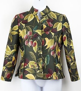 Ellen Tracy Ellen Tracy Temu1300 Olive Multi Silk Wool Lined 3-button Blazer B25