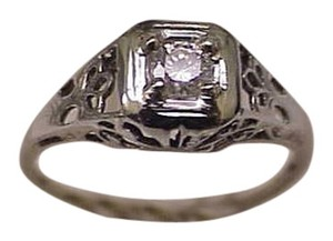 Other Antique Art Deco 14k White Gold Engagment .20ct Brilliant Cut Diamond Filigree Ring ,1920's