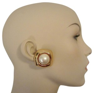 Other Ciner Vintage Gold Plated Pearl Cabochon Clip Earrings SIGNED Huge