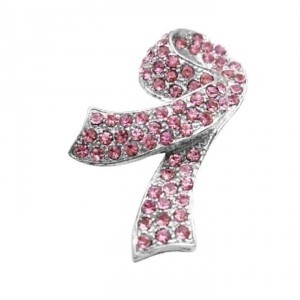 Silver Pink Crystals Breast Cancer Charitable Clasp Brooch/Pin