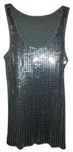 Other Front Is Entirely Covered In Comfortable S It Is A Top Silver sequins on cotton tank top